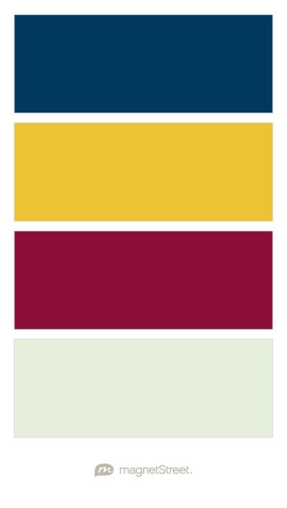 Updated Wedding Colors:Navy, Mustardy Yellow, Burgundy/Merlot, Mint