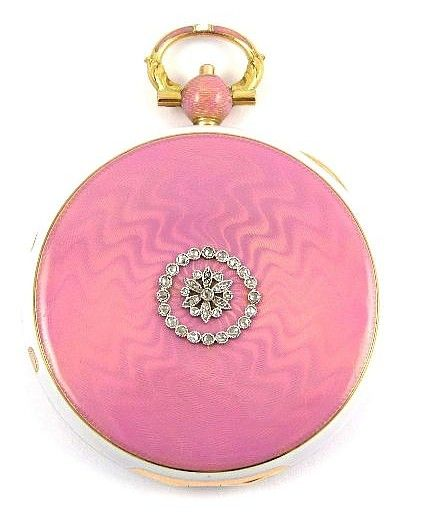 Antique vintage powder compact, pink guilloche enamel and gold by Cartier, c1910.