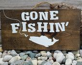 """Gone Fishing Sign, Hanging Wooden Sign, Fishing Sign, Rustic Fishing, 14.5"""" x 7"""""""