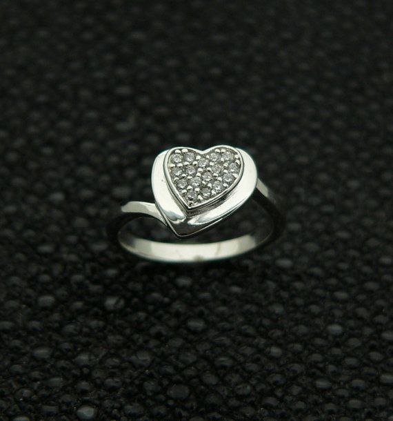 new,925,sterling,silver,classic,ladies,heart,shape,design,ring,handset,cz,rhodium,plated,plus,jewelry,gift,box