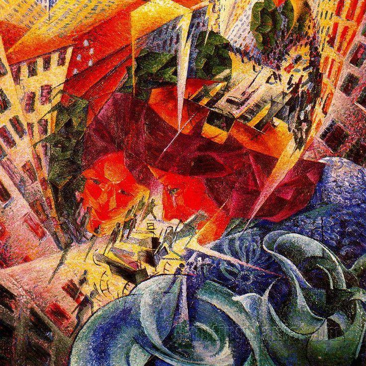 Umberto Boccioni, Simultaneous Visions, 1911-12. Colore ad olio, 60 cm x 60 cm