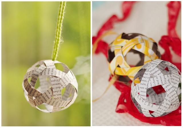 bolas de natal feitas com papel