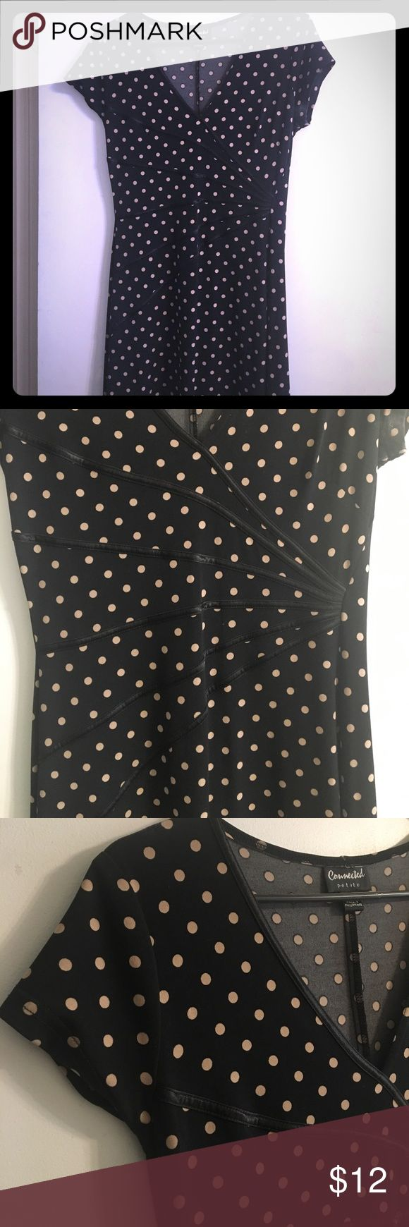 Dress Great fitting polka dot dress with satin accents that look amazing. Connected Petite Dresses Midi