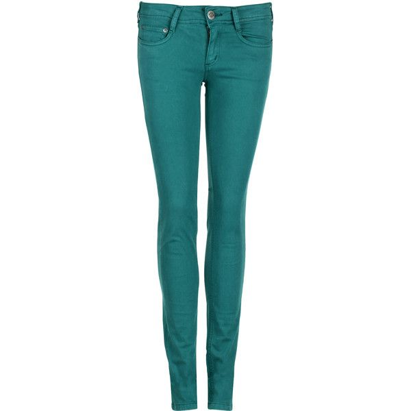 CIMARRON Jean slim teint Vert ($62) ❤ liked on Polyvore featuring jeans, pants, bottoms, calças, pantalones, acid lake, cimarron jeans, slim fit blue jeans, slim cut jeans and blue jeans
