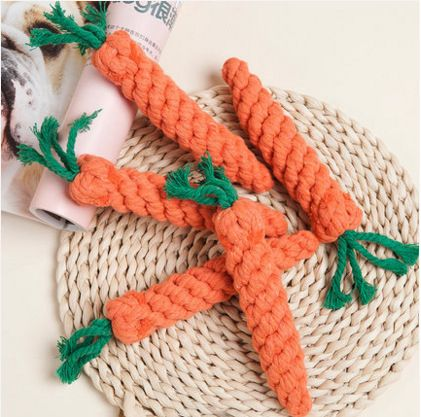 Lovely Carrot Shape Pets Dog Puppy Toys Cotton Wool Pet Kitten Cat Rabbit Chewing Toys Soft Natural Fun Toy Pets Supplies