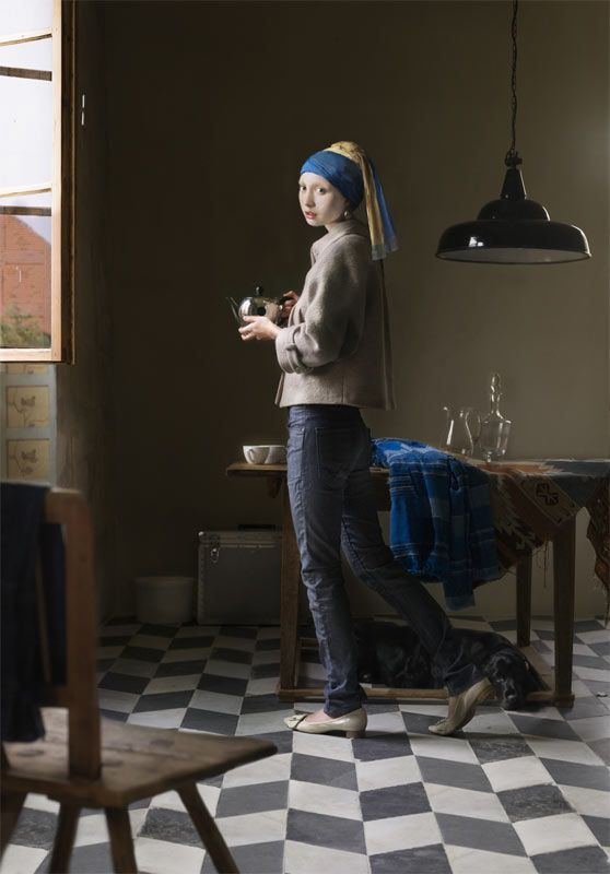 """In her wonderful """"Digital Paintings"""" series, German artist Dorothee Golz inserts figures from Renaissance-era portraits into photographs of contemporary life."""