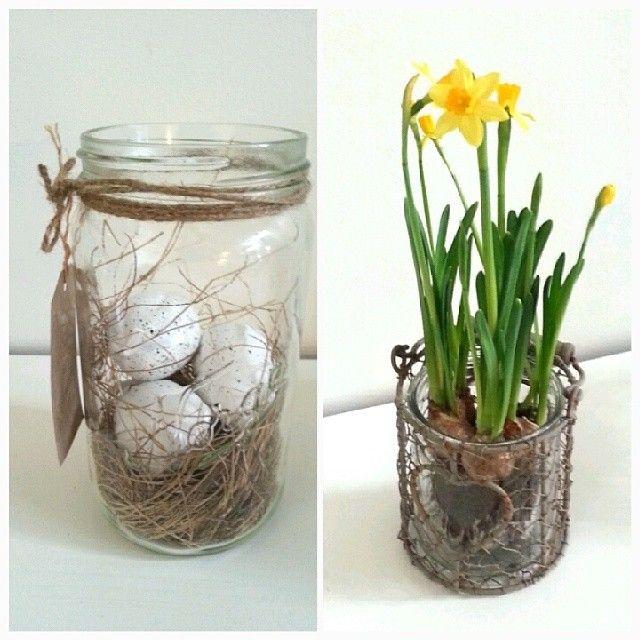 """""""Har begynt med litt påskepynt i heimen:-D #egg #påskepynt  #påskeliljer #norgesglas #egg"""""""