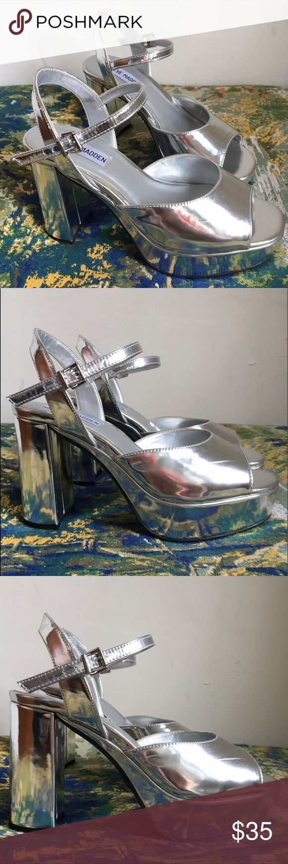 SZ 7 Silver Steve Madden 90s Style Platform Heels totally dope 90s-STYLE (these are not vintage!) platform sandals! these are SO cute and shockingly comfortable (because the actual incline is not that extreme!). i bought these brand new for a romy and michele costume and wore them one additional night before realizing they were definitely not my size. i wear a size 7.5, and while these feel super comfortable, my toes creep out the front. these might even work for a 6.5! Steve Madden Shoes…