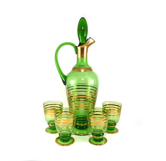 Wine decanter set in gold striped green glass. Holiday entertaining. Vintage barware