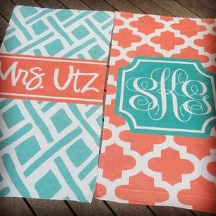 Monogrammed beachtowels-this site is all things personalized!!!