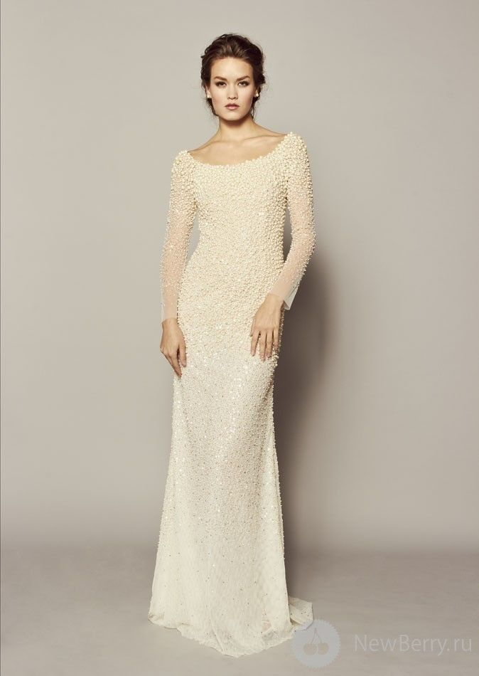 Boat Neck Modest Beaded Wedding Dress With Longs Sleeves