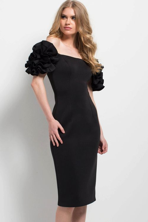 377a4fc6110 Jovani - 49552 Floral Ruffled Sleeves Off Shoulder Sheath Cocktail Dress in  Black (straight across neckline