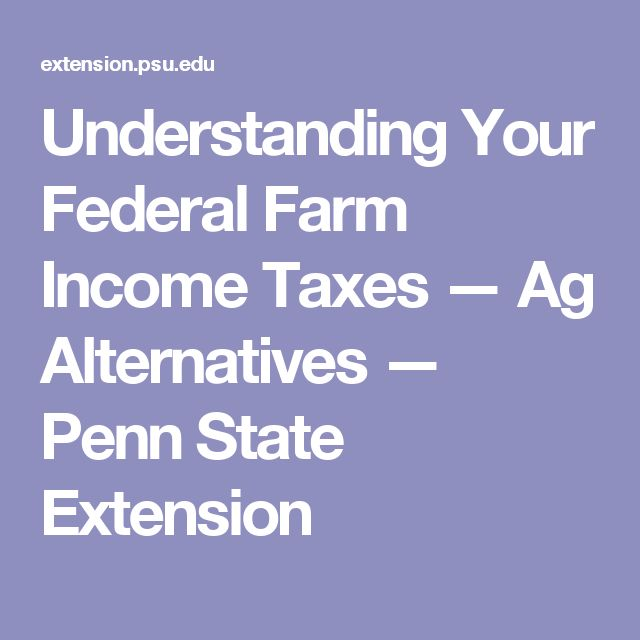 Understanding Your Federal Farm Income Taxes — Ag Alternatives — Penn State Extension
