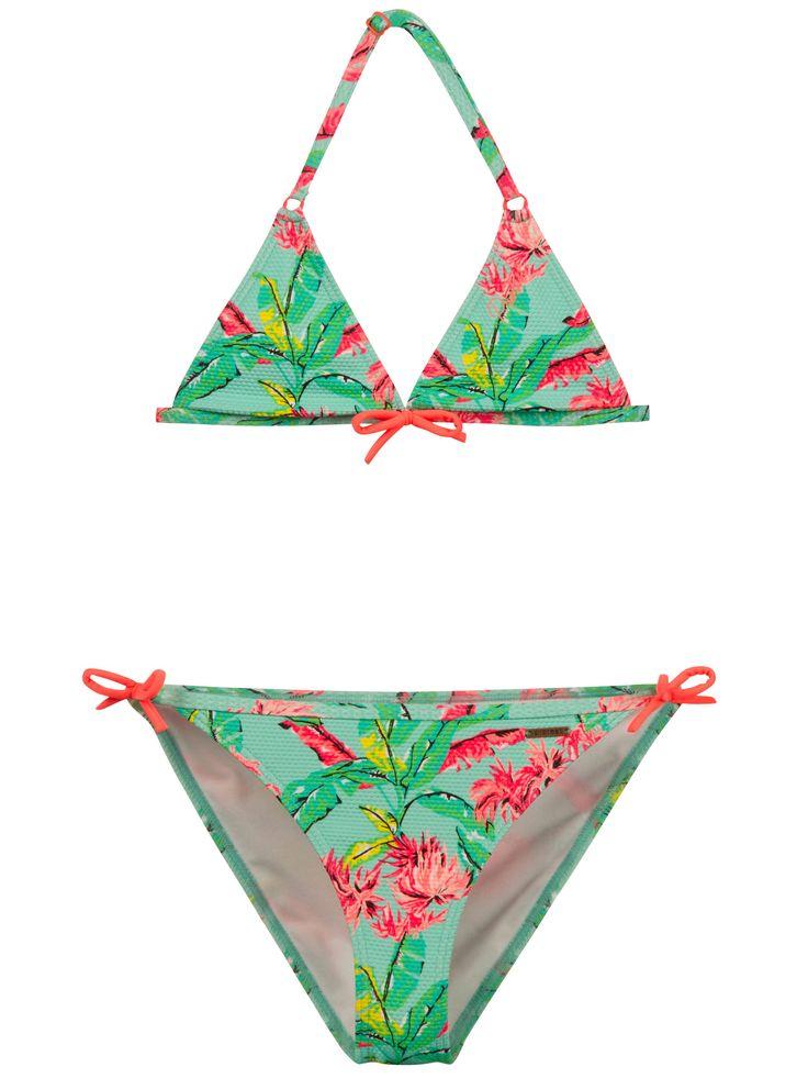 Deze Protest Alena JR triangle bikini voor meisjes heeft de volgende features: all-over print met contrastkleur strikken, verstelbare bandjes met plastic gekleurde gesp en ringen.