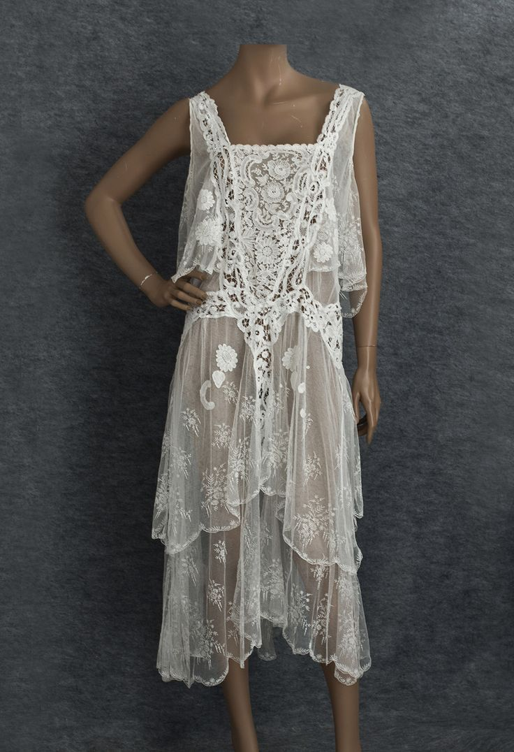 Mixed lace tea dress, c.1929 Front.    Would be fun to copy with repurposed table linens and doilies.