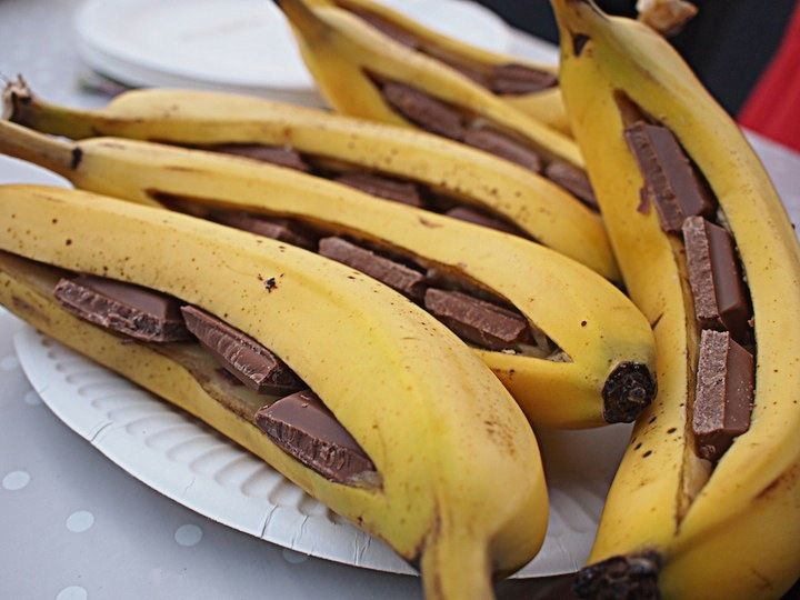 BBQ dessert - banana with chocolate, wrap in tin foil and grill. YUM :)