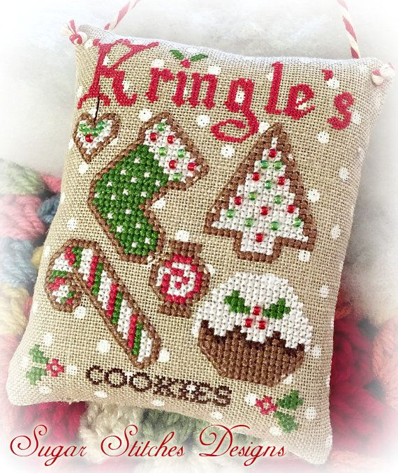 Kringles Cookies Cross Stitch Chart - PDF Pattern Model stitched on 32 ct Petit Point Raw Belfast Linen using DMC floss and Mill Hill Beads.