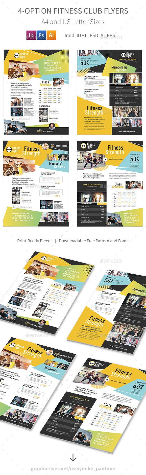 Fitness Club Flyer Templates PSD, Vector EPS, InDesign INDD, AI Illustrator