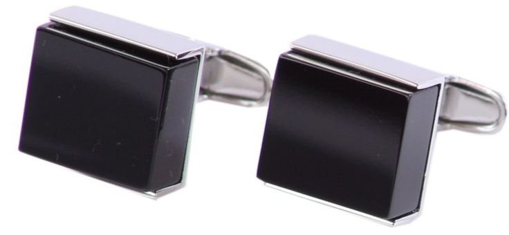 Denison boston Luxe Square Black Onyx Stainless Cufflinks