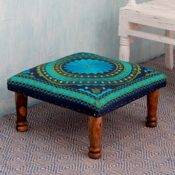Turquoise Mandala Sheesham Wood with Multicolor Embroidery in Shades of Blue Green Square Foot Stool Upholstered Ottoman (India) - 16631717 - Overstock.com Shopping - Top Rated Novica Ottomans