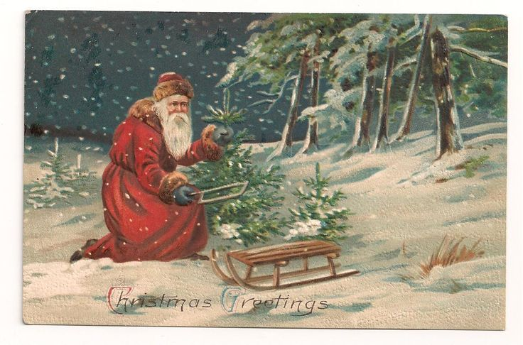 Santa Father Christmas Postcards Full Series 3 Cards Cuts Tree Delivers Toys | eBay