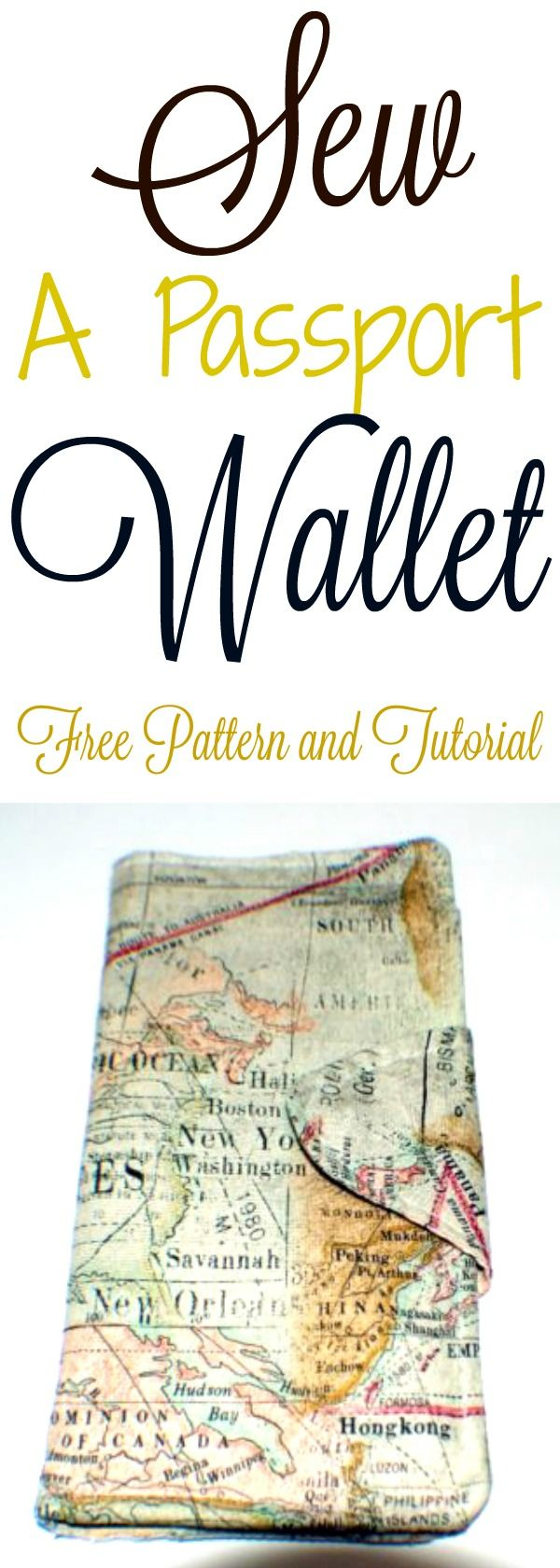 Sew a passport wallet.  Free pattern and tutorial. #passport #passprtwallet #sew #pattern #tutorial