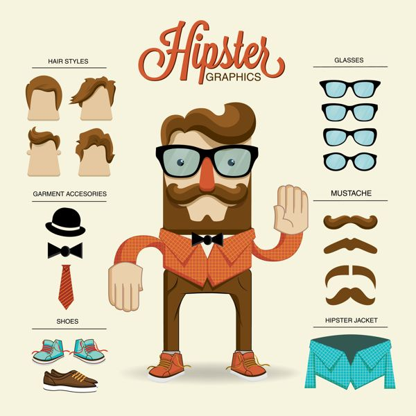 Hipster character illustration with hipster elements by Kovacs Tamas, via Behance