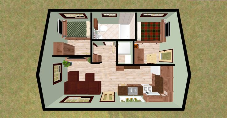 """Cozyhomeplans.com 432 Sq Ft Small House """"Firefly"""" 3D Top"""
