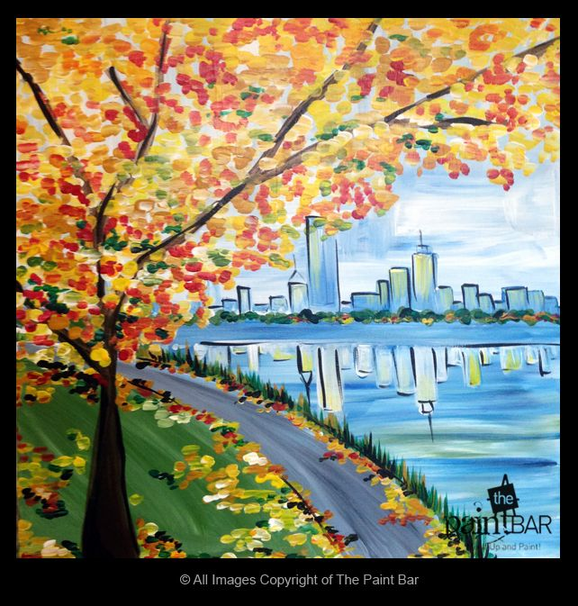 Autumn on The Charles Painting - Jackie Schon, The Paint Bar