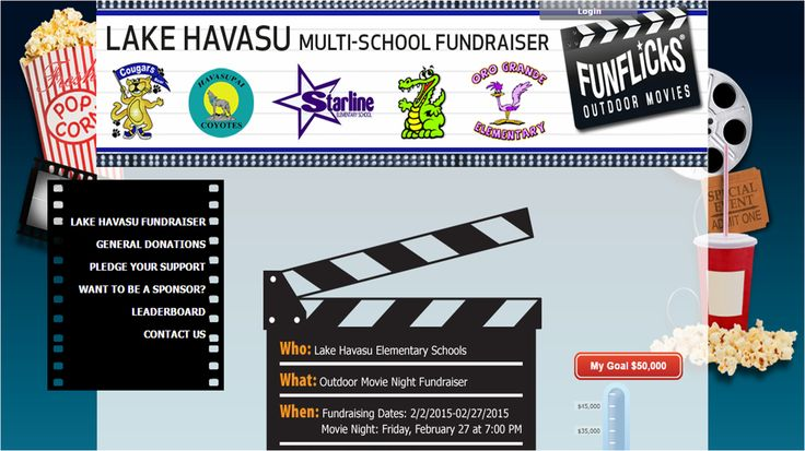 http://www.lakehavasufundraiser.myevent.com/  The Lake Havasu Elementary Schoolsis hosting a movie night fundraiser for technology upgrades, AR, new marquees, laminators,books for library and a new PA system.  www.myevent.com