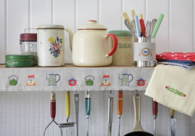 Proper shabby chic. Love it.: Home Decor Idea, Kitchens, Pantry Idea, Scandinavian Kitchen, Home Idea, Cross Stitch Patterns, Kitchen Ideas, Cross Stitches, Vintage Kitchen