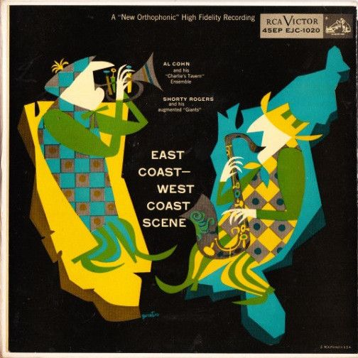 """Al Cohn and his """"Charlie's Tavern"""" Ensemble-Shorty Rogers and his augmented """"Giants"""" - East Coast-West Coast Scene 1955 (3 records, Vinyl, 45 RPM, 7"""", gatefold)"""
