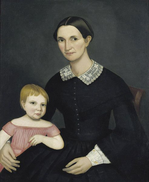 Portrait of Sarah King Dewey and her Daughter Harriet by Ammi Phillips   Art Posters & Prints