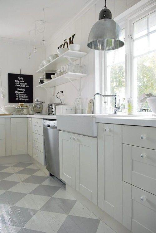 grå vit rutigt golv kök - Sök på Google