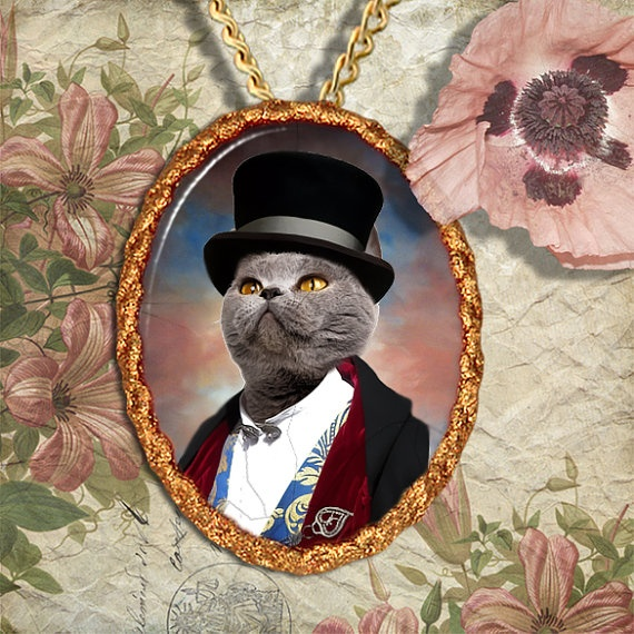 Blue British Cat Jewelry Pendant Necklace  by NobilityCatsandPets, $34.90