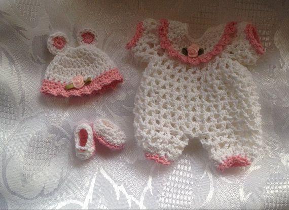Costume souris crochet mignon en fonction de 6-7 pouces ooak argile sculpter / mini reborn