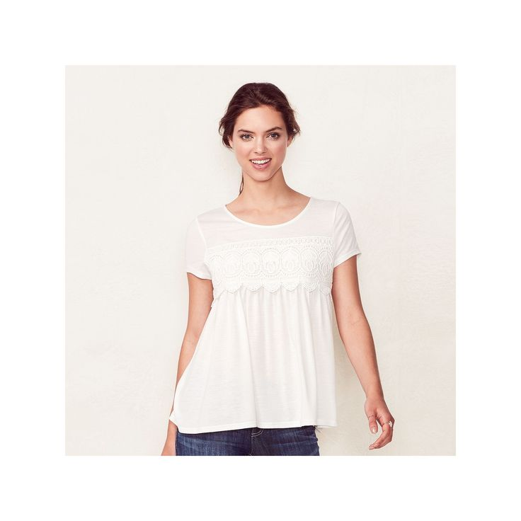 Women's LC Lauren Conrad Crochet Swing Tee, Size: Medium, White Oth