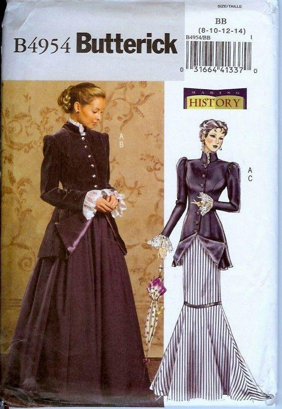 Butterick 4954 Edwardian Gibson Girl Jacket Long Skirt Pattern Sz 8 10 12 14 #ButterickMakingHistory #GibsonGirl