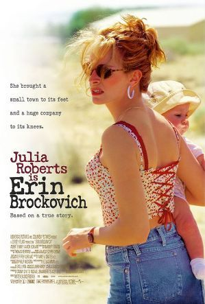 Erin Brockovich - 2000, directed by Steven Soderbergh,  based on the true story of Erin Brockovich, portrayed by Julia Roberts, who fought against tPacific Gas and Electric Company (PG).  JUlia Roberts won the Academy Award, Golden Globe, Screen Actors' Guild Award and BAFTA for Best Actress.  Did you know the real Erin Brockovich has an appearance early in the film as a waitress named Julia ?