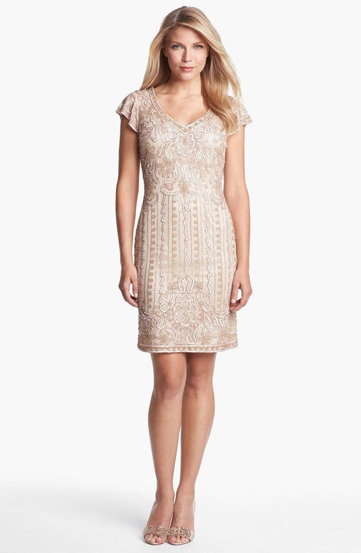 J Kara Embellished Mesh Sheath Dress Petite Nordstrom