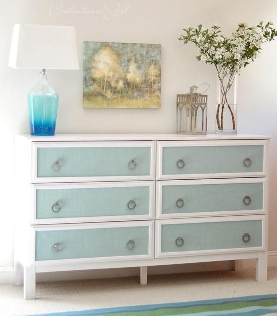 See how centsationalgirl.com took this pine IKEA dresser from plain to perfection with molding, burlap insets and paint! | thisoldhouse.com