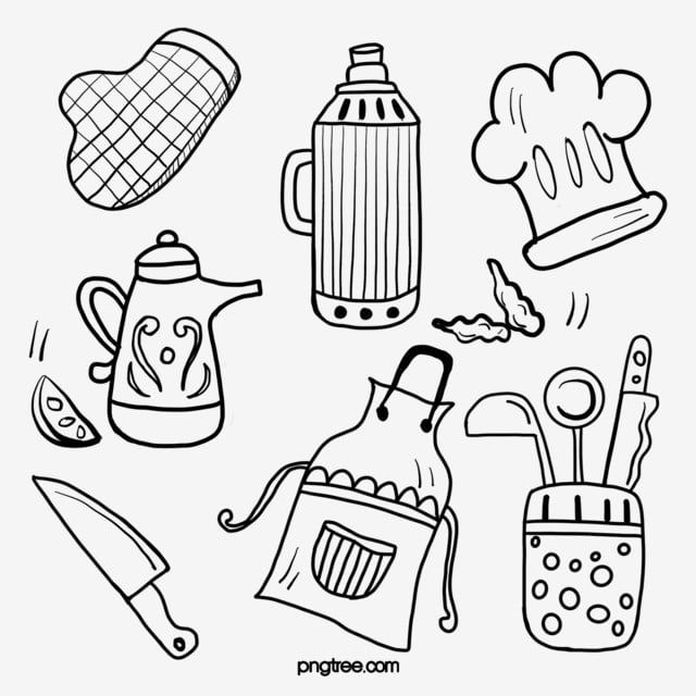 Kitchen Supplies Black Line Drawing Hand Drawn Kitchen Supplies Pot Tool Png Transparent Clipart Image And Psd File For Free Download How To Draw Hands Line Drawing Kitchen Clipart
