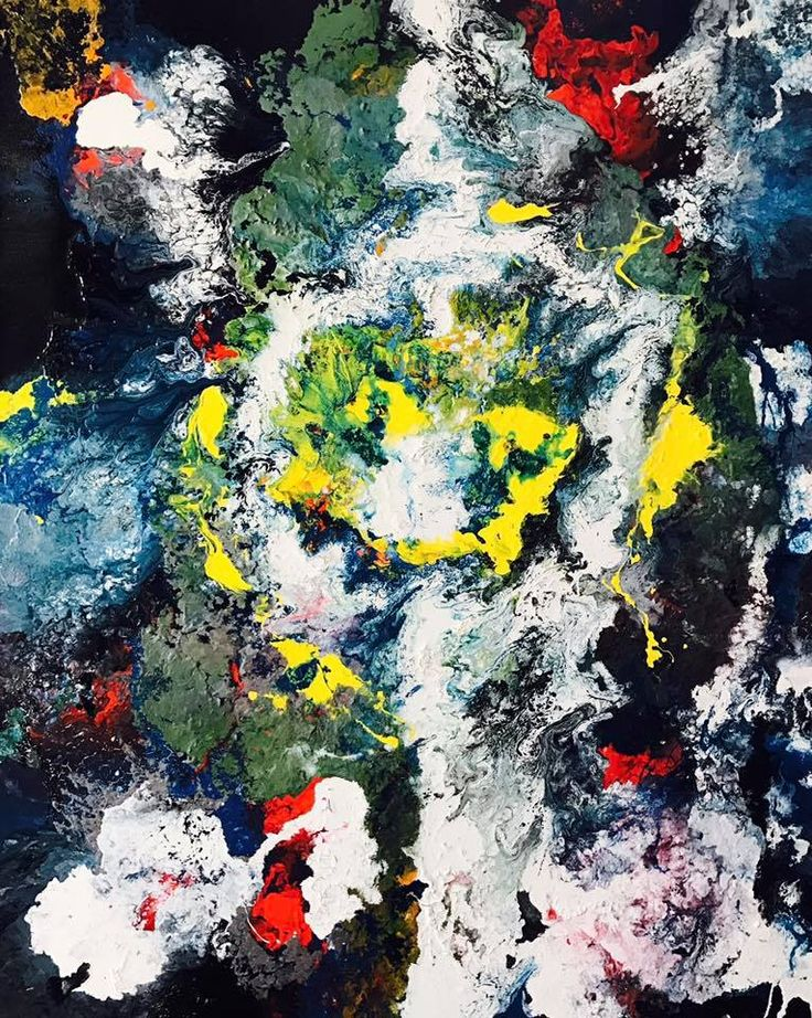 Fluid acrylic modern abstract contemporary painting on canvas.