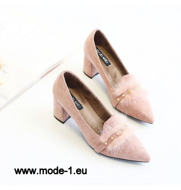 Flauschige Nieten spitz klobige Pumps in Rosa