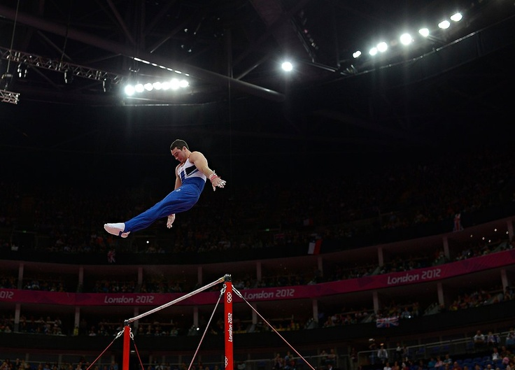 Kristian Thomas of Great Britain on the horizontal bar during the artistic gymnastics competition.