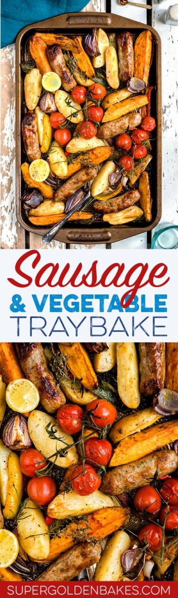 Easy sausage, potato and pepper traybake – a colourful and mega tasty meal that is sure to become a family favourite.