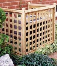 Easy-to-build lattice screen cover for an air conditioner. This could be an easy way to disguise an outdoor eyesore.