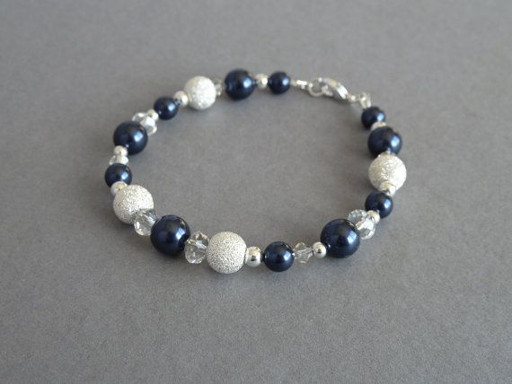 Navy Stardust Bracelet - Dark Blue Pearl, Silver and Crystal Bracelets - Midnight Blue Bridesmaid Gifts - Deep Blue Wedding Jewelry