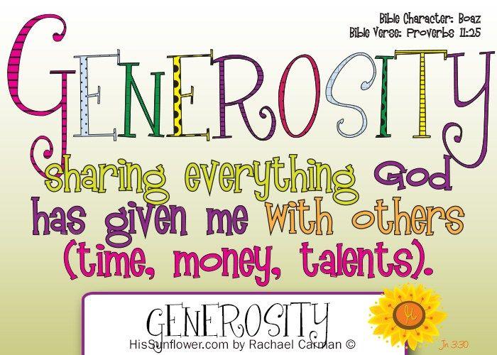 Character Quality Generosity Character Qualities Preschool