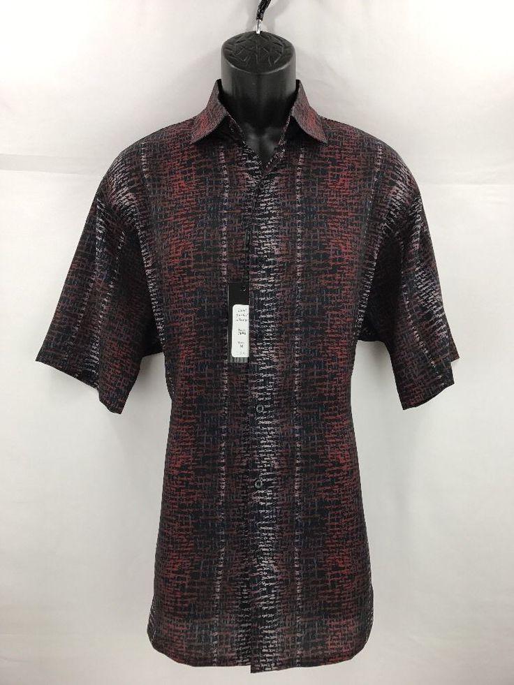 Bassiri Men's Short Sleeve Shirt Red Navy Black Coral Microfiber Sizes M - 4XL #Bassiri #ButtonFront